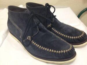 JOHN VARVATOS STAR USA BLUE SUEDE MOC TOE BOAT SOLE DESERT CHUKKA BOOTS  SZ 10D