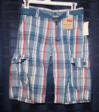 Levi's Cargo Shorts Boys 12 Regular ~ Blue/Red/White Plaid ~ Casual Shorts NWT