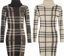 Acrylic Checked Long Sleeve Dresses for Women