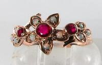 LUSH 9K 9CT ROSE GOLD INDIAN RUBY & FIERY OPAL FLOWER RING FREE RESIZE