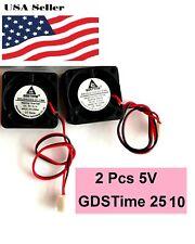 2Pcs GDStime 5V 2Pin 2510 25x25x10mm  5Blade Mini Small DC Brushless Cooling Fan