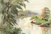 River Deveron, Aberdeenshire, Scotland – Original 1904 watercolour painting