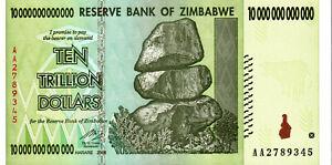 UNCIRCULATED ZIMBABWE 10 TRILLION DOLLAR NOTE AA PREFIX UV TESTED
