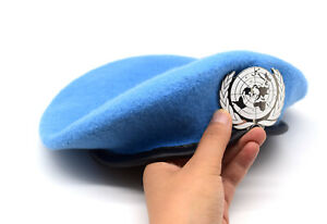 UN Peacekeeping Force Woolen Cap Hat UN BLUE BERET With UN Siliver Badge 58CM