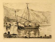 Eau forte, Ecole française, 1872, Port de Méditerranée