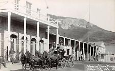 RPPC SILVER CITY ID Stagecoach at Court House Vintage Idaho Postcard ca 1950s