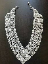 Rare Vintage 1960s Trifari White Painted Metal Runway Statement Necklace