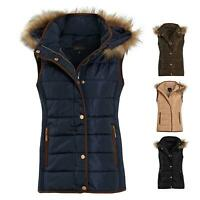 Shelikes Ladies Quilted Faux Fur Hood Hooded Gilet Body Warmer Size 8 to 16