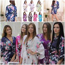 Hot Soft Cozy Bridesmaid Peacock Pyjamas Kimono Robe Women Satin Silk Sleepwear