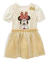Disney Toddler Girls' Minnie Mouse Tulle Dress Tutu Gold Polka Dot Size 5T