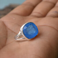 Cushion Blue Sapphire Gemstone 925 Sterling Silver Artisan Handmade Gift Ring