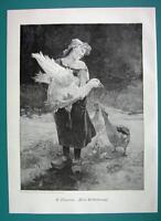 RUSTIC GIRL Brings Goose Home - VICTORIAN Era Print