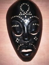 Hand Carved Wooden Tribal Mask Wall Hanging Mother of Pearl Inlay H 9 1/2""
