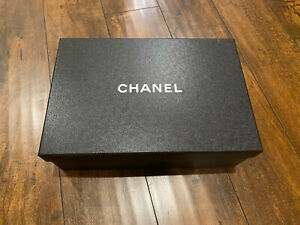 Authentic Chanel Black Shoe Box with tissues:13 x 8.5 x 5 Inches