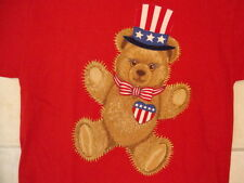 Cute Uncle Sam Patriotic Top Hat Teddy Bear America USA Red T Shirt L
