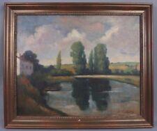 Gabriel Charlopeau (1889-1967) paysage dans le marais avec barques