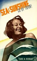 "Vintage Illustrated Travel Poster CANVAS PRINT Sea & Sunshine Victoria 24""X16"""