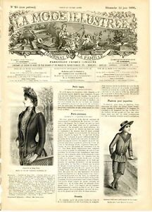 French MODE ILLUSTREE SEWING PATTERN June 22,1890