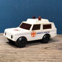 Rare Vintage Range Rover Ambulance White Plastic Friction Powered Toy Car Loose
