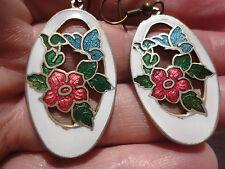 Beautiful cloisonne white red blue butterfly enamel 7gram 54mm pierced earrings.