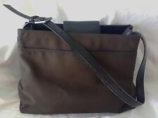 COACH Shoulder Bag Brown Neoprin & Leather Medium Handbag 3 Sections Purse