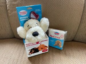 Snuggle Puppy Calming Toy, Golden (White) w/ heart beat PLUS 6 extra heat packs