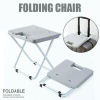 Foldable Stool Portable Plastic Small Chair Household Folding Chair Bench Gray B