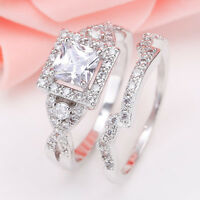 925 Silver Princess Cut White Sapphire &Topaz Women Bridal Wedding Ring Set