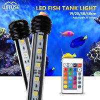 Aquarium Lights Submersible Fish Tank LED Lamps RGB Blue White Waterproof US/EU