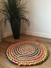 ❤️ROUND CHOTI JUTE & MULTI COLOUR RAG RUG 60cm BRAIDED STRIPED HAND LOOM INDIAN