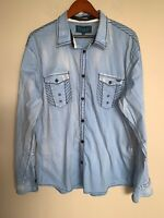 Roar Mens Shirt Blue Striped Embroidered Button Up Long Sleeve Size XL