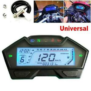 LCD Motorcycle Speedometer Odometer Tachometer RPM Speed Fuel Gauge Kph Mph Kit