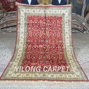 YILONG 5'x8' Handmade Silk Red Rug Home Office All-Over Oriental Carpet MC422C