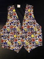 Rare Vtg 1994 Looney Tunes Women's Medium Button Up Cartoon Character Dress Vest