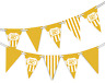 Happy 80th Birthday Polka Dot and Vintage Gold Pattern Bunting Banner 12 flags