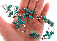 Sterling Silver Turquoise Chip Bead Lace Choker Necklace