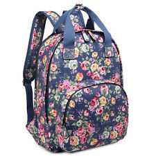 Ladies Girls Oilcloth Flower School Bag Travel Backpack Tote Shoulder Bag