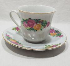 Regent China English Rose Tea Cup & Saucer With Gold Trim Rose Flower Design