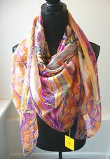 Etro NWT Colorful Large Square Shimmery Silk Shawl Wrap Scarf Pareo Retail $585