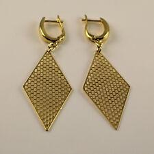 Yellow Gold Filled Mesh Filigree Diamond Shape Dangle Drop Earrings New UK