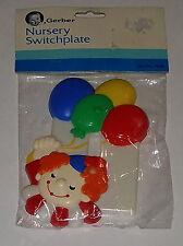 New Vtg Clown Gerber Nursery Switchplate Baby Room Decor Plastic Balloons 1983