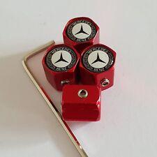 MERCEDES BENZ Red Wheel alloy Valve Dust Caps MP Anti theft 9 COL CLA SLK AMG ML
