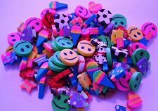 "MINI ERASERS ASSORMENT  LOT 0F 144 CARNIVALS PARTY TOYS 1/2""  ASSORTED COLORS"