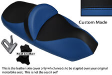 ROYAL BLUE AND BLACK CUSTOM FITS PIAGGIO X9 125 250 500 DUAL LEATHER SEAT COVER