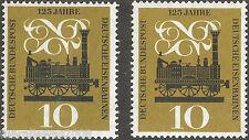 Deutschland MiNr. 345 ** 125 Jahre deutsche Eisenbahnen vom Bogen in Farbe a + b