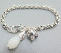 Natural Nephrite White Jade Orchid Real 925 Sterling Silver Rolo Link Bracelet