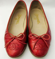 RARE $850 CHANEL HOLIDAY RED LEATHER CC LOGO BALLET FLATS SHOES 37.5