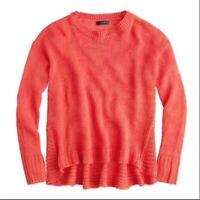 J Crew Women's Textured Linen Beach Sweater Pullover Swing Top Orange Size XS