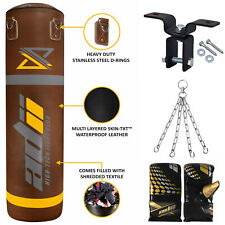 Adii Skin-Txt Leather Filled Boxing Punching Bag Mma Heavy Bag Gloves Chain Hook
