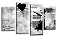 """BANKSY WALL ART PICTURE BLACK GREY GIRL WITH BALLOON CANVAS 4 PANEL 44""""x 27"""""""